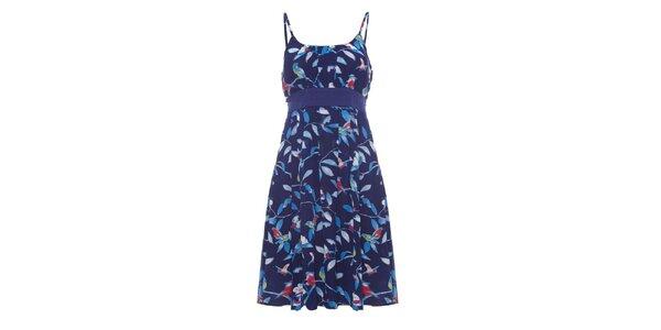 Dámske tmavo modré šaty so špagetovými ramienkami a potiskom Uttam Boutique
