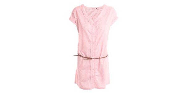 Dámské světle růžové šaty s volánkem 2two