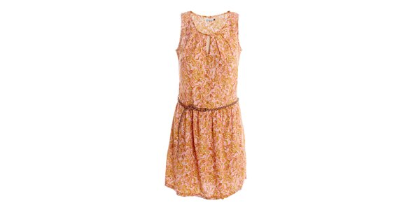 Dámské meruňkovo-růžové šaty s páskem 2two
