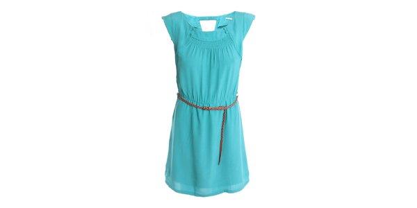 Dámské tyrkysové šaty s páskem 2two