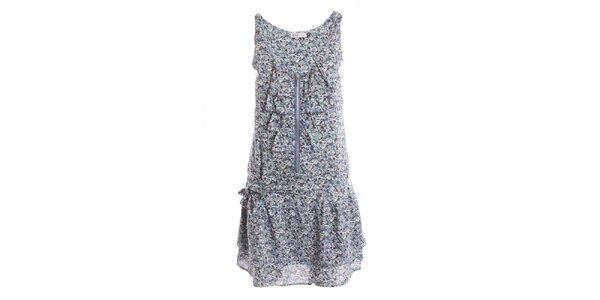 Dámske modré kvetinové šaty so zipsom 2two