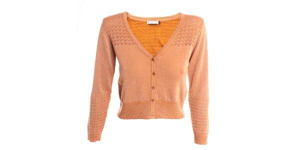 Dámsky marhuľový sveter s lurexovým vláknom 2two