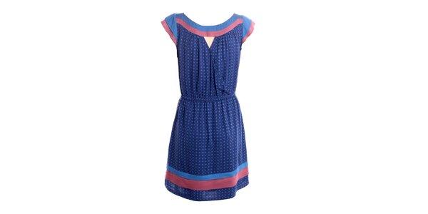 Dámske modro-ružové šaty s jemným vzorom 2two