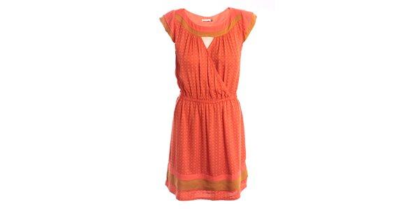 Dámske oranžovo-béžové šaty s jemným vzorom 2two