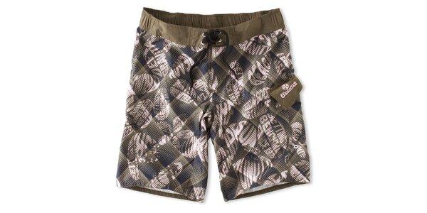 Pánske hnedo-šedé kárované kúpacie šortky Brunotti