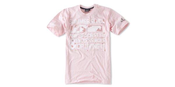Pánske ružové tričko s nápismi Brunotti