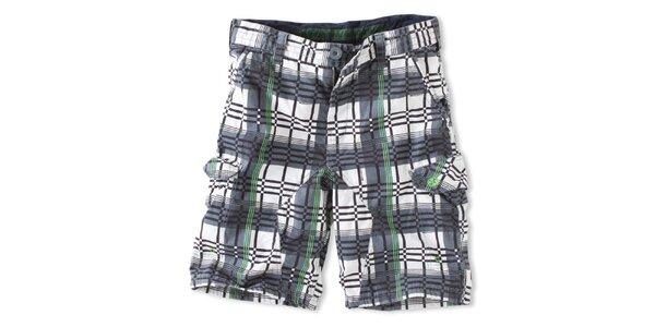 Pánske zeleno-tmavošedé kockované šortky Brunotti
