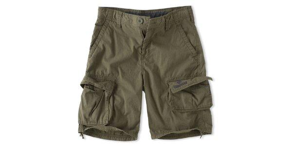 Pánske khaki šortky s vreckami Brunotti