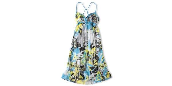 Dámske modro-žlté šaty Brunotti s havajskými kvetmi