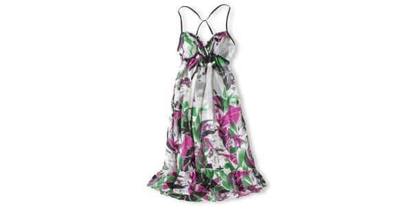 Dámske biele šaty s ružovo-zeľanou potlačou Brunotti