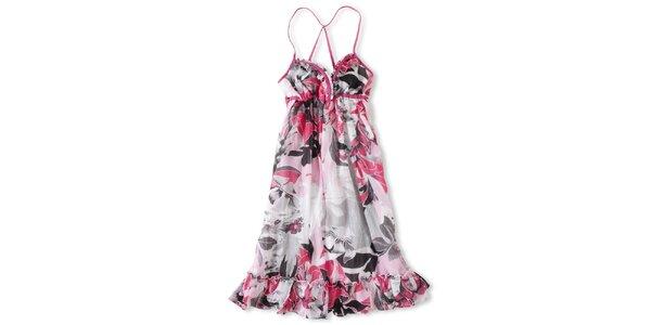 Dámske biele šaty s ružovo-čiernou potlačou Brunotti
