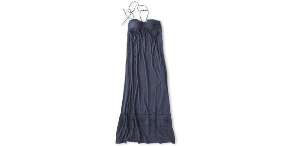 Dámske tmavo modré dlhé šaty za krk Brunotti