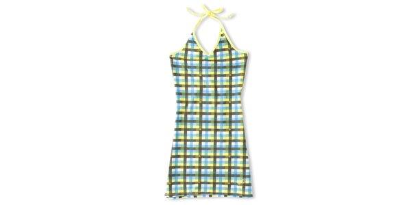 Dámske tyrkysovo-žlté šaty s kockovaným vzorom Brunotti