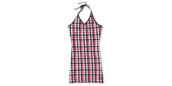 Dámske čierno-ružové šaty s kockovaným vzorom Brunotti