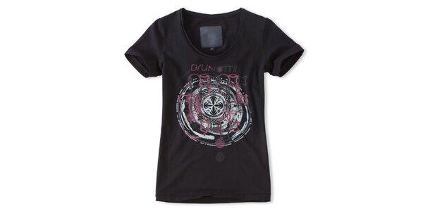 Dámske čierne tričko s ružovou potlačou Brunotti