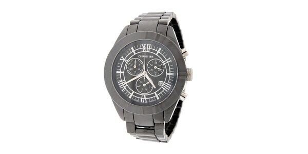 Pánske ocelovo šedé keramické hodinky Cerruti 1881