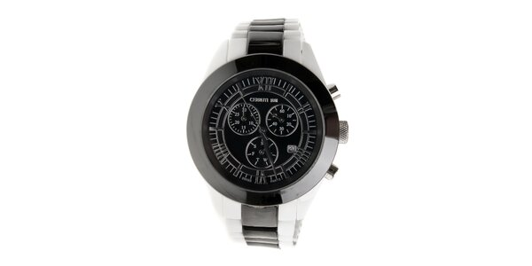 Čierno-biele keramické hodinky Cerruti 1881