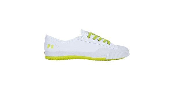 Nízke bielo-žlté tenisky so znakmi Shulong