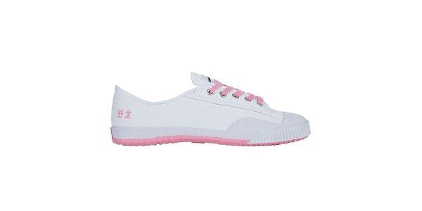 Dámske nízke bielo-ružové tenisky so znakmi Shulong