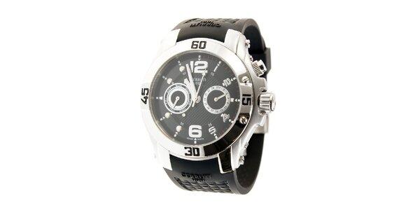 Pánske ocelové hodinky Cerruti 1881 s čiernym pryžovým pásikom
