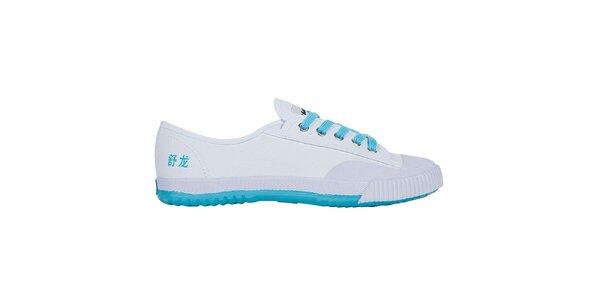 Dámske nízke bielo-tyrkysové tenisky so znakmi Shulong