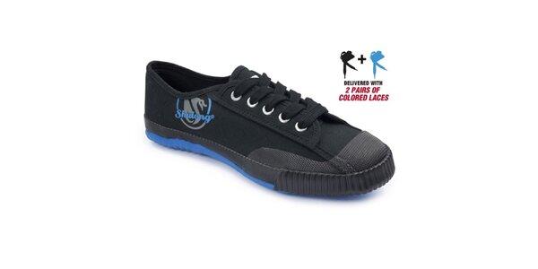 Dámske čierne tenisky s modrou podrážkou Shulong