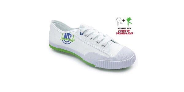 Biele tenisky so zelenou podrážkou Shulong