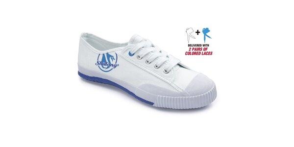 Biele tenisky s modrou podrážkou Shulong