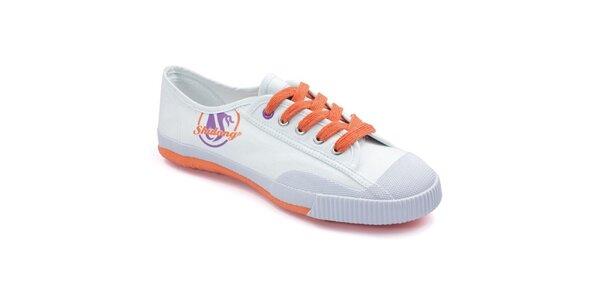 Biele tenisky s oranžovou podrážkou Shulong
