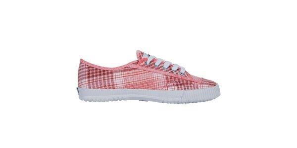 Červene kockované nízke tenisky Shulong