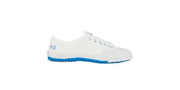 Nízke bielo-modré tenisky so znakmi Shulong