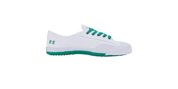 Nízke bielo-zelené tenisky so znakmi Shulong