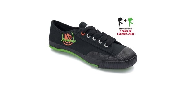 Pánske čierne tenisky so zelenou podrážkou Shulong