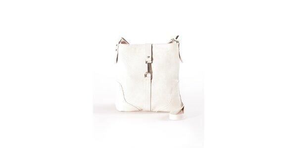 Dámska béžová plochá kabelka s kovovou prackou Luisa Vannini