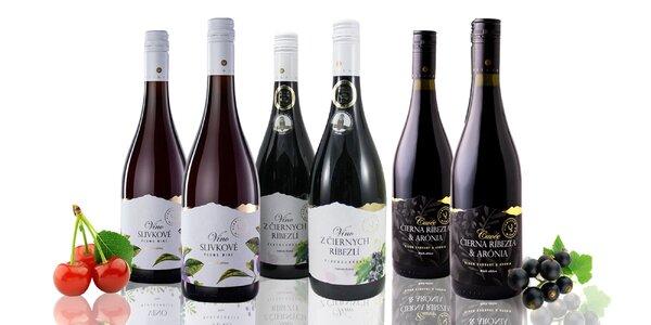 Ovocné vína – čierna ríbezľa, ríbezľa s aróniou alebo slivka