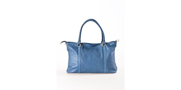 Dámska modrá kožená kabelka Luisa Vannini