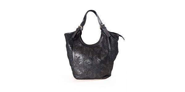 Dámska čierna kabelka s hadím vzorom Luisa Vannini