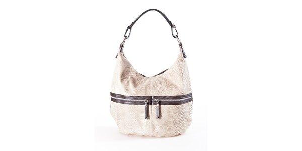Dámska krémovo-hnedá kabelka s hadím vzorom a dvojitými zipsami Luisa Vannini