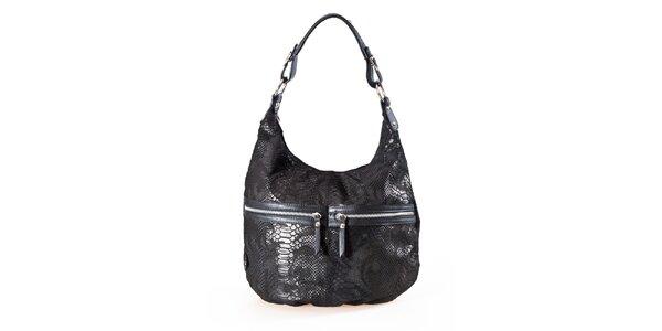 Dámska čierna kabelka s hadím vzorom a dvojitými zipsami Luisa Vannini