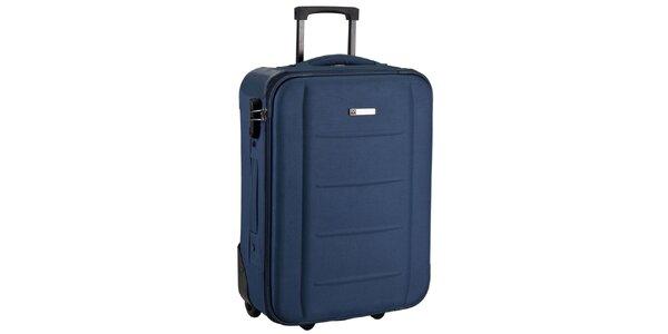 Modrý látkový kufor na koliečkach Movom