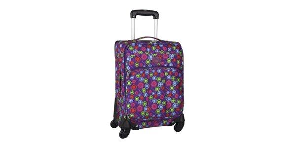 Dámský fialový kufor na koliečkach so slniečkami Movom