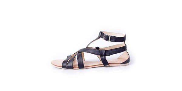 Dámske čierne kožené remienkové sandálky GAS
