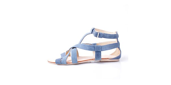 Dámske šedo-modré kožené sandálky GAS
