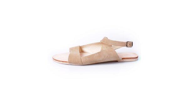 Dámske béžové kožené sandálky GAS