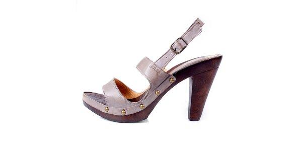 Dámske béžové kožené sandále GAS
