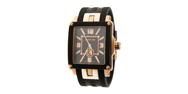 Pánske čierne hodinky Cerruti 1881 so zlatými detailami a pryžovým pásikom