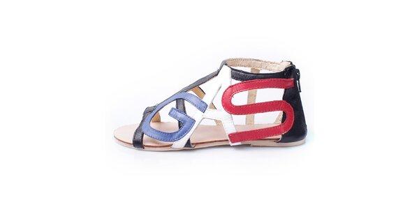 Dámske čierne sandálky s farebným trikolórovým logom GAS