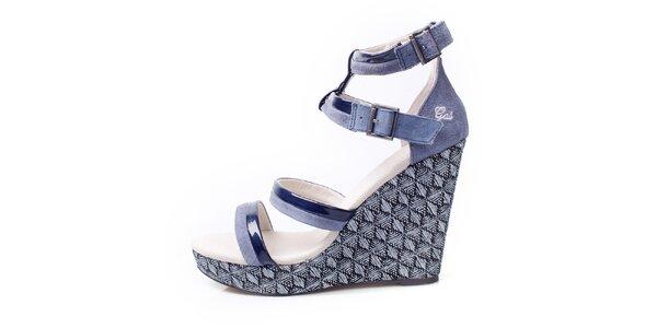 Dámske šedo-modré sandálky na kline GAS