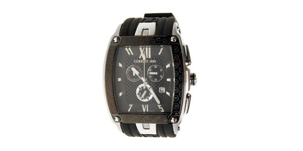 Pánske čierno-strieborné hodinky Cerruti 1881 s pryžovým pásikom