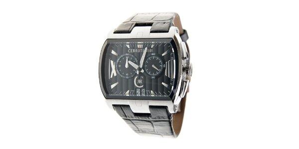 Ocelové hodinky Cerruti 1881 s čiernym koženým pásikom